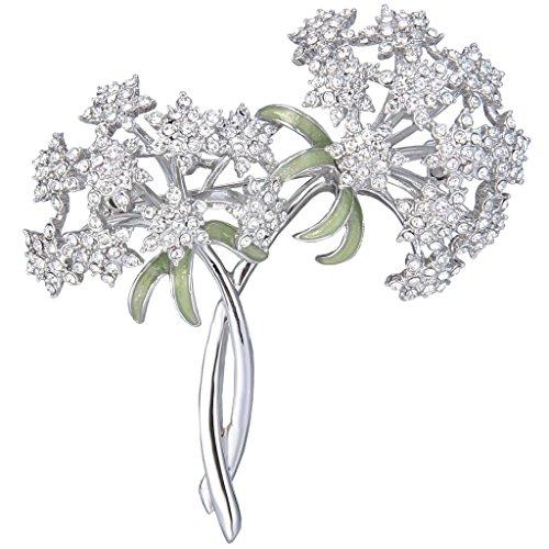 EVER FAITH® Ton d'Argent Cristal Autrichien Gypsophila Fleurs Bouquet Broche Transparent N06714-1