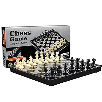 International Chess Set Checkers Game Board Folding Magnetic Chess Game Strategy Game Portable Folding Chess Board for Adults Kids by AUKO