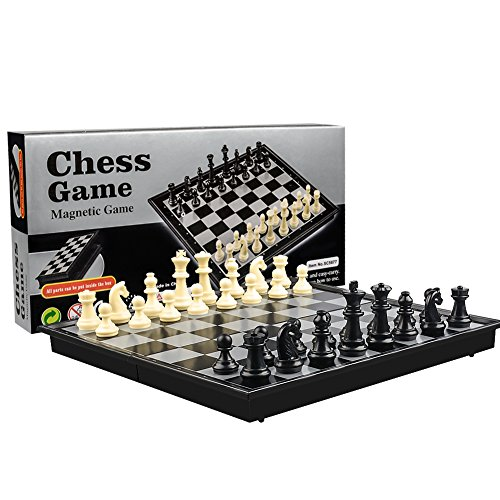International Chess Set Checkers Game Board Folding Magnetic Chess Game Strategy Game Portable Folding Chess Board for Adults Kids by (Deluxe Electronic Chess)