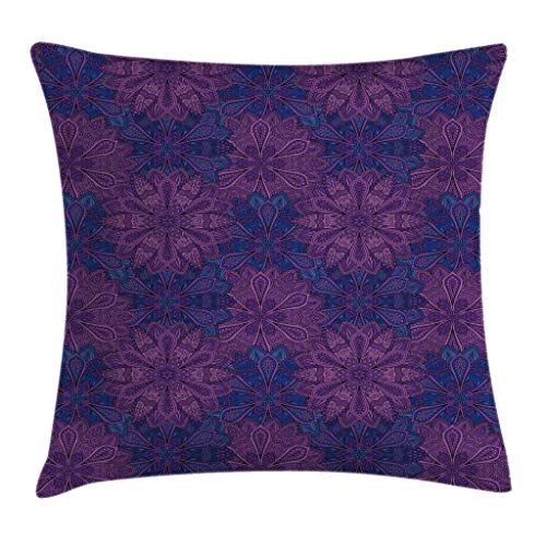 Ambesonne Indigo Throw Pillow Cushion Cover, Ethnic Paisley Flower Inspired Design with Inner Swirls Leaves Image, Decorative Square Accent Pillow Case, 24 X 24 Inches, Pink Purple and Dark Blue