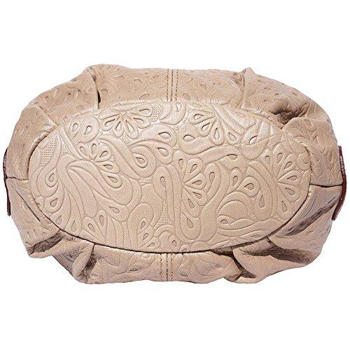 Borsa hobo a spalla in pelle stampato (Tortora-Marrone)