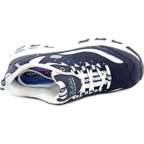 Skechers Sport Donna Dlites Memory Foam Sneaker Allacciata Blu