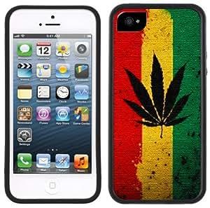 Rasta Pot Leaf Handmade iPhone 5 5S Black Bumper Plastic Case