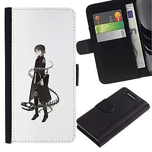 LASTONE PHONE CASE / Lujo Billetera de Cuero Caso del tirón Titular de la tarjeta Flip Carcasa Funda para Sony Xperia Z1 Compact D5503 / Lady Dragon Snake Deep Meaning
