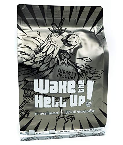 Wake The Hell Up Ground Coffee, Ultra Caffeinated Medium-Dark Roast, 12 Ounce, Reclosable -
