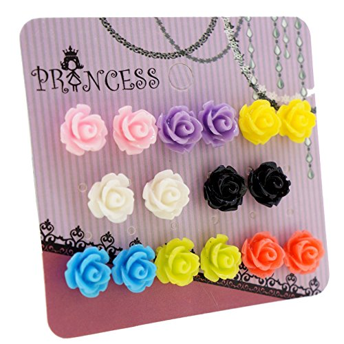 Price comparison product image Mixed Color Resin Rose Flower Magnetic Stud Earrings for Teen Girls Kids Womens