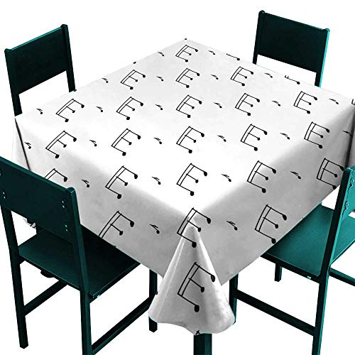 Warm Family Music Fabric Dust-Proof Table Cover Musical Notes Theme Melody Sonata Singing Song Clef Tunes Hand Drawn Style Pattern Great for Buffet Table W36 x L36 Charcoal Grey