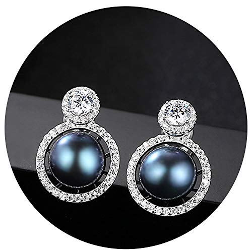 Earring 8-8.5 Mm 100% Natural Pearl Earrings Jewelry 925 Sterling Silver Brincos Zircon Stud Earrings For Women,Black