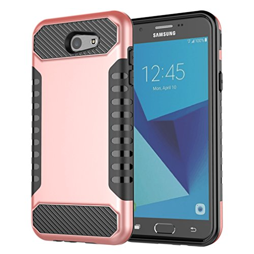Galaxy J7 Case, J7 Prime Case Armor Serial Dual Layer Shockproof Anti-Scratch Case Soft TPU Bumper with Hard PC Protective Cover for Samsung Galaxy J7 Sky Pro (2017) (Rosegold + Black)