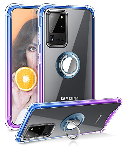 DAUPIN for Galaxy S20 Ultra Case Clear with 360 Rotatable Ring Kickstand Shockproof Absorption Soft TPU Bumper PC Hard Back Protective Phone Case for Samsung Galaxy S20 Ultra 5G 6.9 inch (Blue Purple)