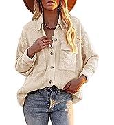 Huiyuzhi Womens Corduroy Button Down Shirt Long Sleeve Casual Jacket Tops Shacket