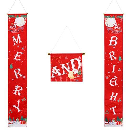 AivaToba Christmas Decorations Outdoor, Christmas Decorations Indoor, Merry Bright Christmas Decorations Banner, Merry Bright Porch Sign - Red Xmas Outdoor Christmas Decor for Home