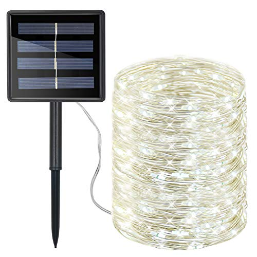 Moreplus 72ft Solar Powered String Lights 8 Modes Copper Wire Lights Indoor/Outdoor Waterproof Decorative String Lights for Patio Garden Wedding Christmas Decor