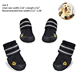okdeals Dog Boots Waterproof Pet Mesh Shoes Breathable Dog Shoes Paw Protectors with Reflective Velcro and Rugged Anti-Slip Sole (4, Black)