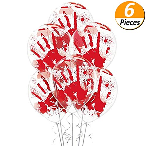 - Mcree 6-Pack Halloween Balloons Bloody Hand Printed, Haunted Asylum Halloween Hand Blood Splatter Skeleton Pumpkin Spider Web Latex Balloons for Halloween Party Decor, 12Inch