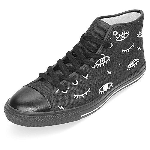 Interestprint Mujeres High Top Classic Casual Canvas Zapatos De Moda Entrenadores Lace Up Sneakers Eyes