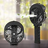 Handheld Misting Fan - Glamouric Portable Mini Foldable Fan USB Rechargeable Battery Operated 3 Speeds Adjustable 55ml Water Tank Personal Cooling Humidifier for Indoor Outdoor Activities (Black)