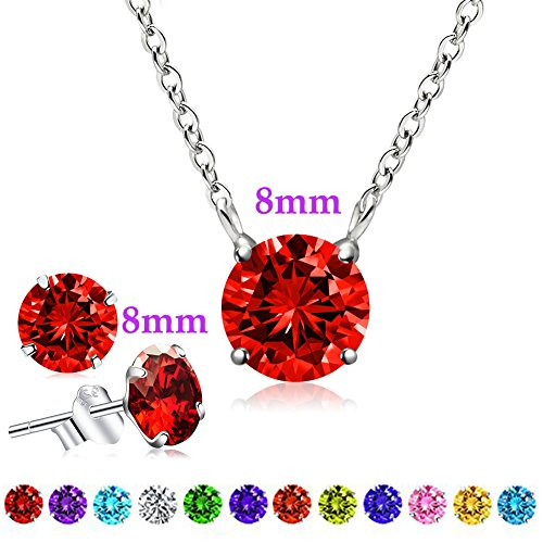 Birthstone Ring Necklace (January Birthstone Earrings and Necklace Set, Swarovski Element AAA Cubic Zirconia Pendant Sterling Silver Jewelry for Women Girls (Garnet))