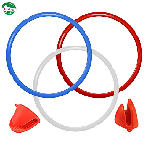 Silicone Sealing Ring for Instant Pot Accessories, Sweet and Savory Ring Fits 5 or 6 qt Instant Pot Models BPA-free 3 Pack including 1 pair Silicone Oven Mitts (Blue,Red,Clear) by Homelink