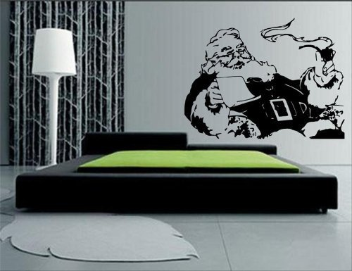 Santa Claus Smoking Pipe with Letter Wall Mural Vinyl Decal Sticker ()