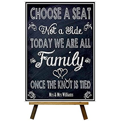 cff51f00acf4f5 CUSTOM CHALKBOARD STYLE CHOOSE A SEAT NOT A SIDE WEDDING POSTER PRINT MR    MRS A3