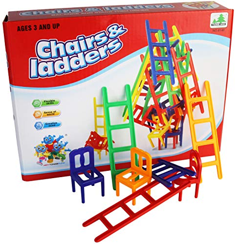 Chairs and Ladders Boardig Game - 44 pc Balance Game Set - Best Stacking Family Game for Adults and - Stacking Chair Game