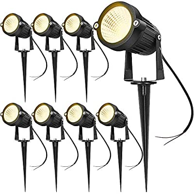 SUNVIE 12W LED Landscape Low Voltage (AC/DC 12V) Waterproof Garden Pathway Lights Super Warm White (900LM) Walls Trees Flags Outdoor Spotlights with Spike Stand (8 Pack)