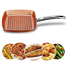 Frying Fry Skillet Grill Pan Copper Square Ceramic Coating Nonstick 9.5 Inch Oven Safe Dishwasher Safe Aluminum Chef Cookware Cooktop Fry Pan Omelet Pans Chefs Pans Stir Fry Pans (1 Grill Pan)
