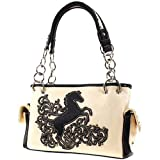 Montana West Beautiful Horse Satchel Purse w/ Chain Handles (off white)