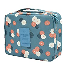 Large Capacity Portable Trip Traveling Travel Toiletry Wash Bag Cosmetic Makeup Storage Case Holder Organizer Blue + Flower