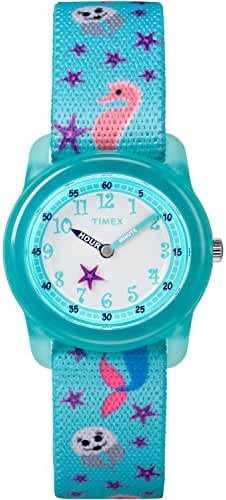 Timex Girls TW7C13700 Time Machines Analog Teal Sea Elastic Fabric Strap Watch
