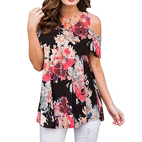 Carnation Cross - GOVOW Women's Casual Floral Print Cold Shoulder Tunic Tops O-Neck Criss Cross T-Shirts Blouses