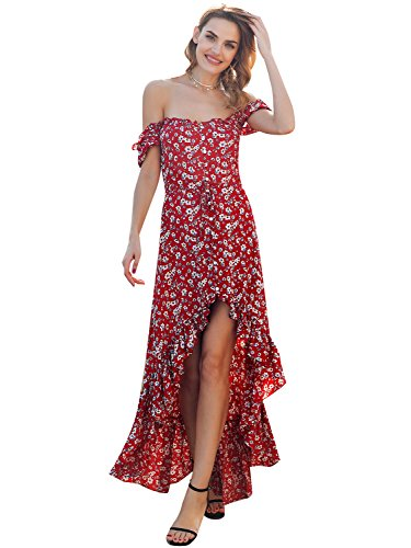 Simplee Women Sexy Off Shoulder Floral Asymmetrical Swing Long Maxi Beach Dress, Red, (Asymmetrical Floral Dress)