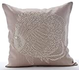"Designer Mocha Pillow Shams, Beaded Fish Sea Creatures Ocean & Beach Theme Pillow Shams, 24""x24"" Pillow Sham, Square Cotton Linen Shams, Mediterranean Pillow Shams - Butterfly Fish"