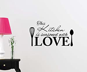 Simple Expressions Arts Wall Vinyl Decal This Kitchen is Seasoned with Love Cute Inspirational Family Love Vinyl Quote Saying Wall Art Lettering Sign Room Decor
