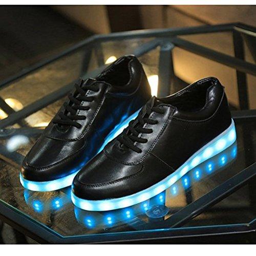 (Present:small towel)JUNGLEST® Unisex Men Women 7 Colors USB Charging LED Lighted Luminous Couple Casual Sport Shoes Fl Black uCzZZNe0l