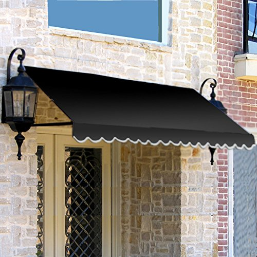 Dallas Retro Awning - Awntech 5-Feet Dallas Retro Awning for Low Eaves, 18 by 36-Inch, Black