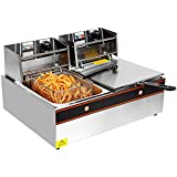 Idealchoiceproduct 5000W 12L Dual Tanks Electric Deep Fryer Professional Tabletop Restaurant kitchen Frying Machine With 2 Basket
