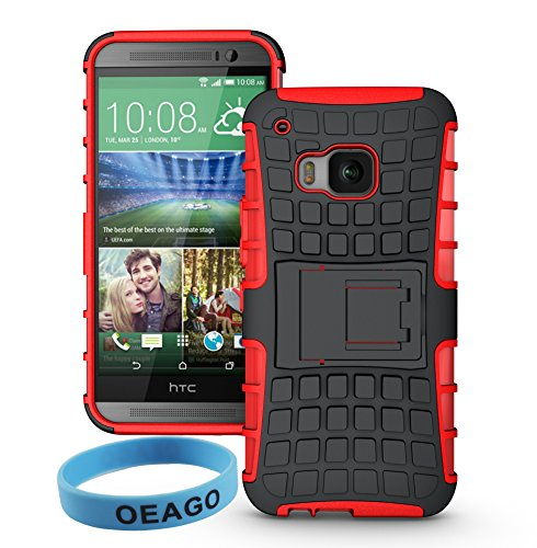 HTC One M9 Cover for 2015 Version HTC One M9 Smart Phone with 1 Stylus Pen + 1 Sports wrist band + 1 OEAGO Cleaning Cloth (For HTC One M9, Hot Red).