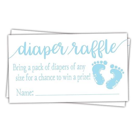 Amazon.com: 50 azul pies de bebé pañales boletos para sorteo ...