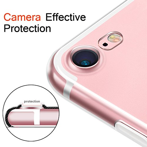 iPhone 7 Funda Sunroyal® Carcasa Transparente de TPU Silicona Suave Cubierta Ultra Fina Parachoques Bumper Flexible Protección Portátil Smartphone Cáscara [Anti-cero] [Antichoque] Concha Shell para ip