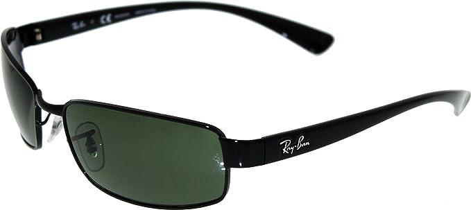 6d09031373 Ray-Ban 3364 002 58 Black Crystal 3364 Rectangle Sunglasses Polarised Lens  Category 3 Size Small 59mm  Ray Ban  Amazon.co.uk  Clothing