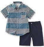 Calvin Klein Baby Boys' 2 Pieces Short Set-Woven Shirt, Blue, 12M