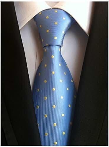 Allbebe Men's Causal Blue Dots Jacquard Woven Silk Tie Microfiber Formal Necktie