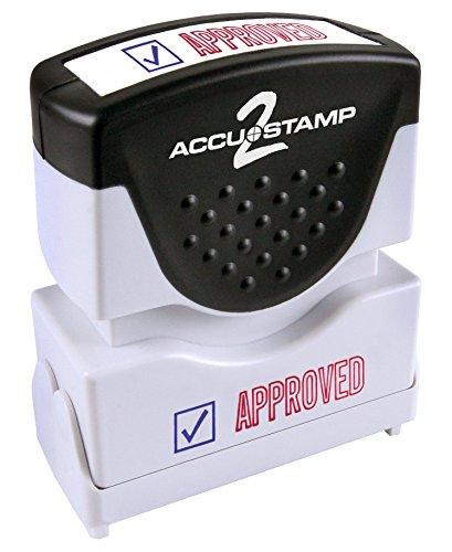 ACCUSTAMP 'APPROVED' Shutter Stamp with Microban Protection, Pre-Inked Red and Blue Message Stamp (035525)
