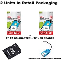 2 PACK - Sandisk Ultra micro SDHC Micro SD UHS-1 TF Memory Card 16GB 16G (Two Pack 16GB x2 =32GB) Class 10 w/ (1) Micro SD to Sd Adapter + Bonus TF USB Reader + Micro SD to SD Adapter included