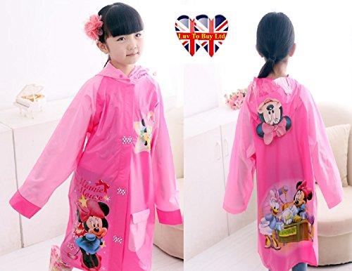 Children Raincoat, Minnie Mouse Raincoat/ Waterproof.(4 Sizes : S , M , L , XL) (L) (Kids Fancy Dress Next Day Delivery)