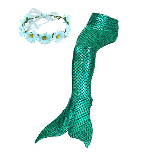 Familycrazy Mermaid with Tail Swimsuit Wet/Dry Outfit with Flower Headband (Adult Large, -