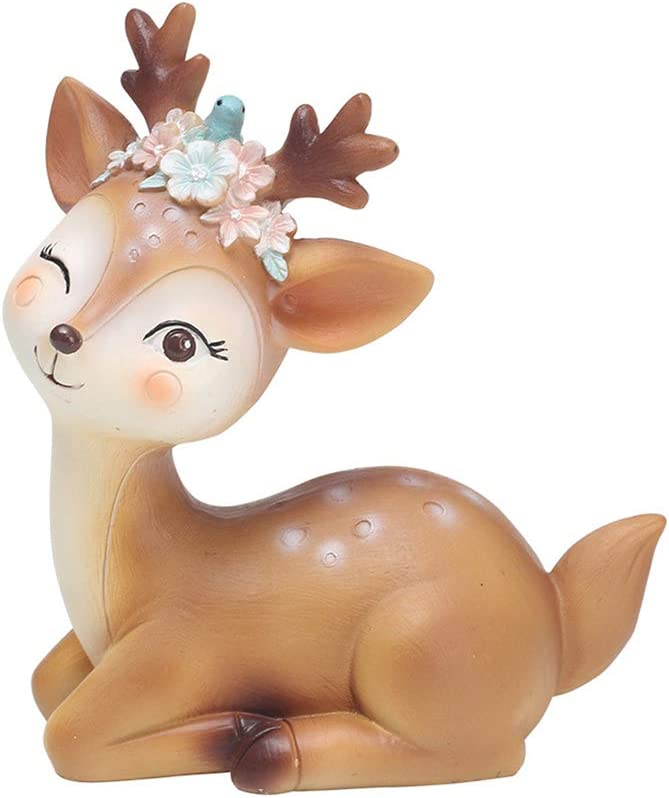 "L.DONG Deer Figurines Toys Decor 4.1"", Cute Fawn Doe Christmas Home Decor Resin Ornament Cake Topper Party Desktop Decoration for Birthday Wedding Anniversary(Elegant)"