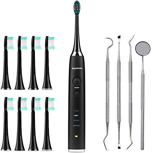 Black Series Ultra Whitening Toothbrush - 8 DuPont Brush Heads & 4 Piece Dental Kit Included - Ultra Sonic 40,000 VPM Motor - 4 Modes with Smart Timer - Modern Electric Toothbrush - Rechargeable